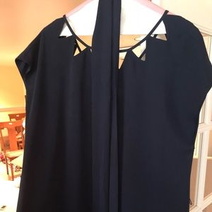 Navy shift dress with cutout detail